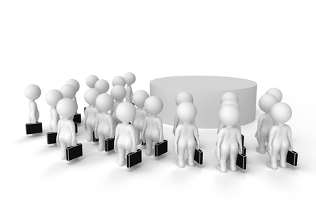 clipart podium: the crowd looks at the podium on white background Stock Photo