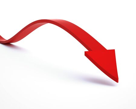 arrow down: Business Graph on white background. 3d render
