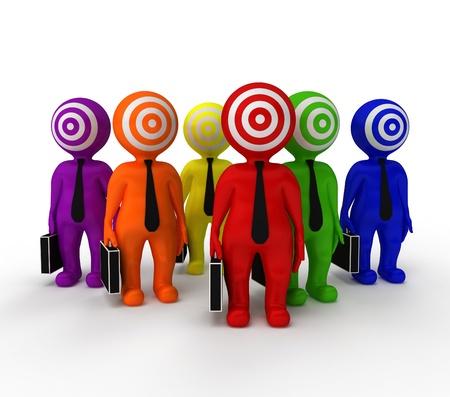 target business: Grupo de personas con un objetivo en su rostro sobre un fondo blanco Foto de archivo