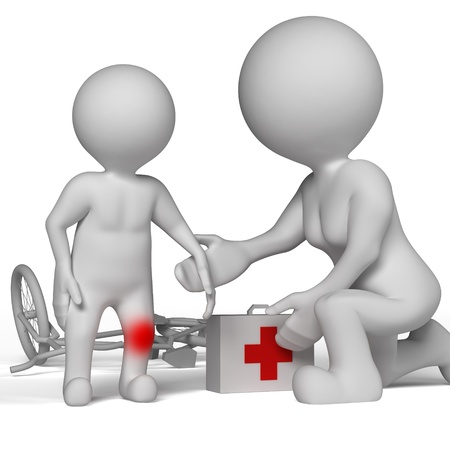 Mom helped a little boy who fell and injured his knee. Stock Photo