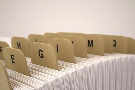 Alphabetic organizer on a beige background. 3d render. Stock Photo