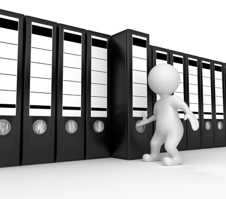 Men with archive from folders on white isolated background. 3d Stock Photo - 8743214