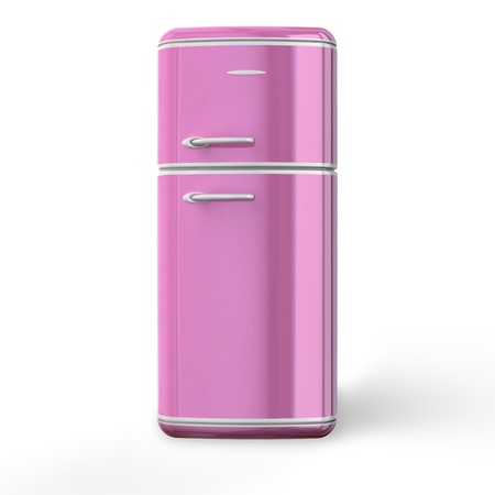 Pink a retro the fridge. 3d image. Isolated white background. the fridge