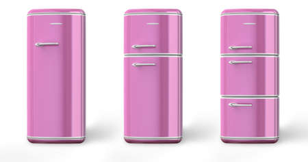 Pink a retro the fridge. 3d image. Isolated white background. the fridge Stock Photo - 9893335