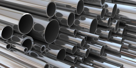 stainless steel: 3d cylindrical tubes in chrome Stock Photo