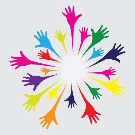 solidaridad: feliz el trabajo en equipo manos sobre un fondo verde oliva. vector. Vectores