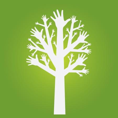 hands tree on olive green background. Vector. Illusztráció