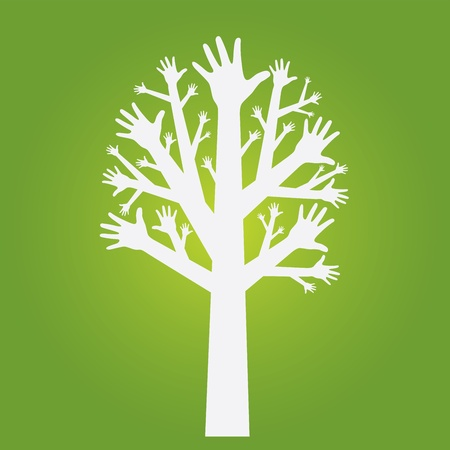 hands tree on olive green background. Vector. Ilustra��o