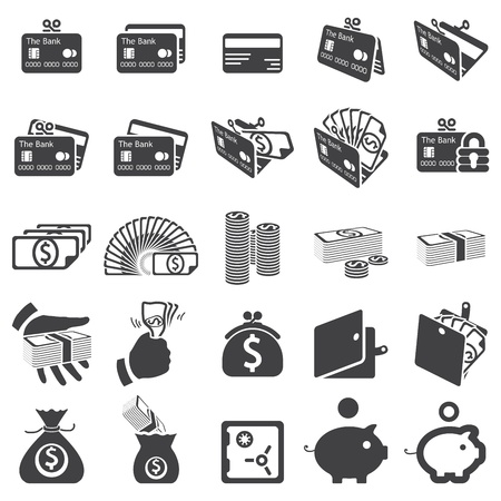 coin purse: set of money icons Illustration
