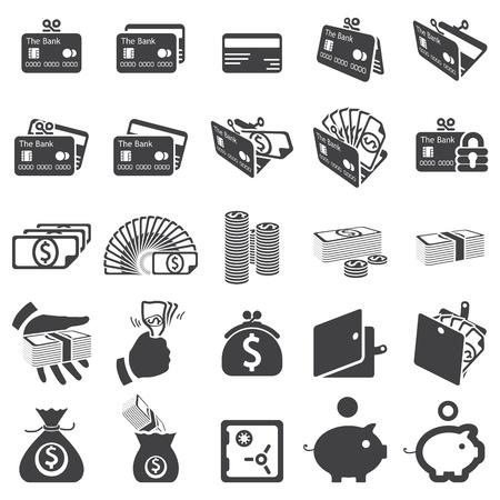 pieniądze: zestaw ikon pieniężnego Ilustracja