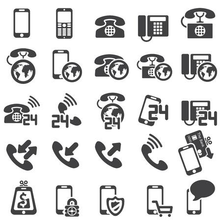vintage telefoon: set van telefoonpictogrammen Stock Illustratie