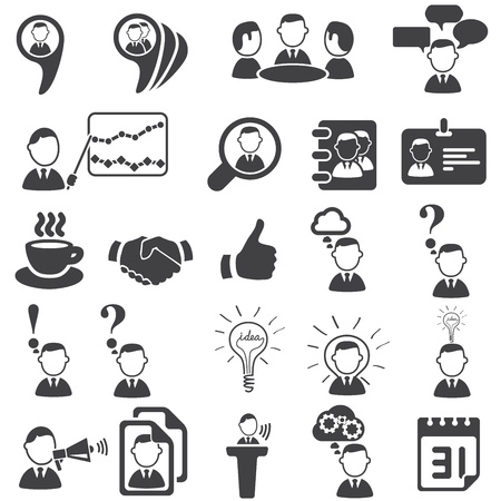 black handshake: Set of business icons Illustration