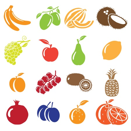 coconut fruit: Set of fruits and vegetables icons
