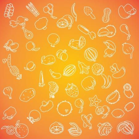 Set of fruits and vegetables icons Stock Vector - 16878548