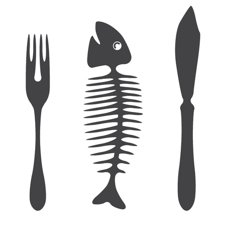 Cutlery knife fork fish  - illustration Stock Vector - 17187284