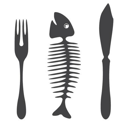 bone fish: Cutlery knife fork fish  - illustration