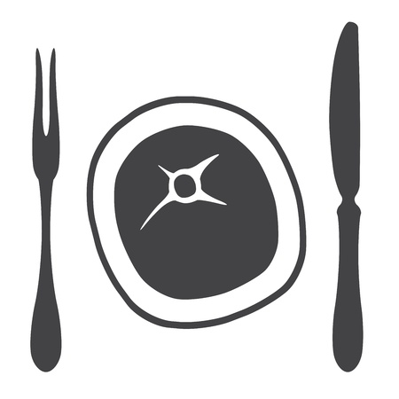 Cutlery knife fork steak  - illustration Vector