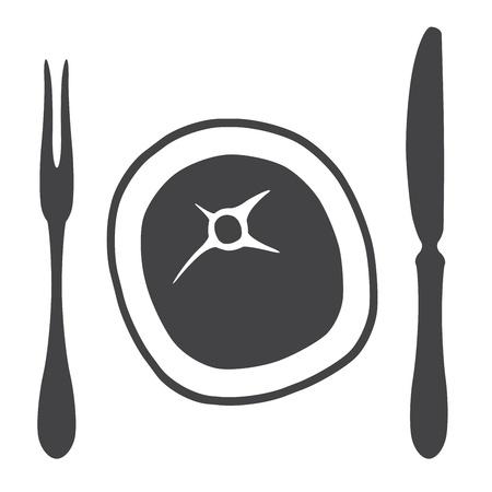 Cutlery knife fork steak  - illustration Stock Vector - 17187282