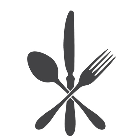 spoon, knife and fork - cross Vector