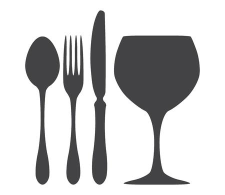 cuchillo de cocina: Cubiertos cuchara cuchillo tenedor vaso ilustraci�n Vectores