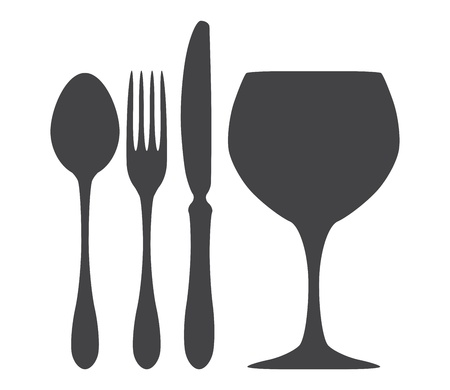fork glasses: Posate coltello cucchiaio forchetta illustrazione di vetro
