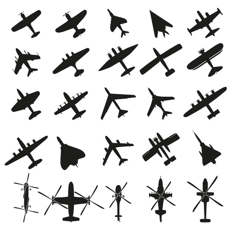 view from the plane: Icons set Airplanes Illustration