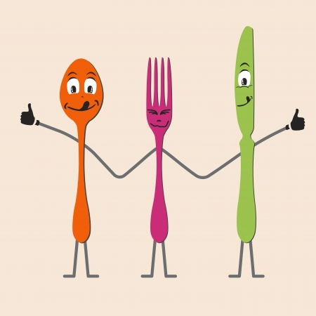 friend hug: Spoon knife and fork cartoon