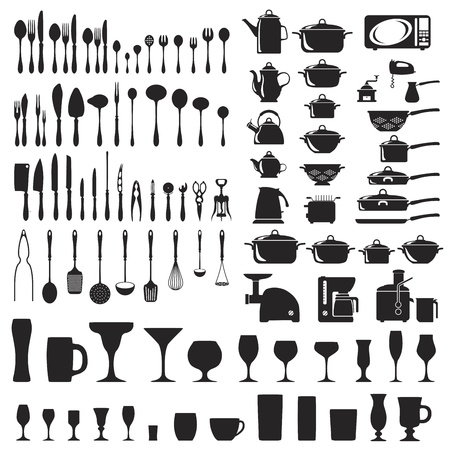 kitchen utensils: Set of cutlery icons