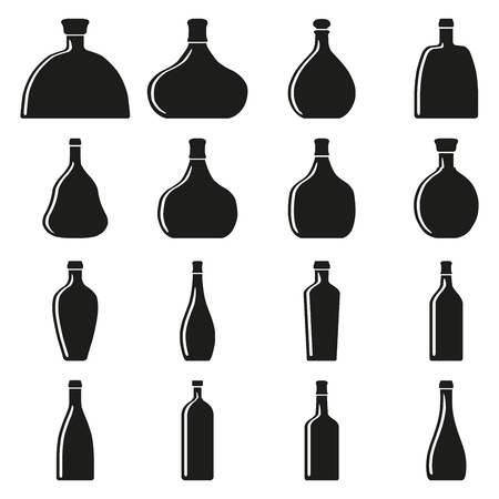 Set of bottles silhouettes Stock Vector - 17448085