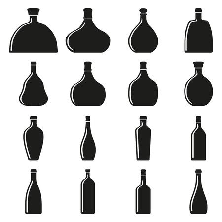 whiskey bottle: Set of bottles silhouettes