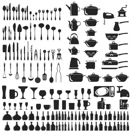 utencilios de cocina: Conjunto de iconos de cuchillería Vectores