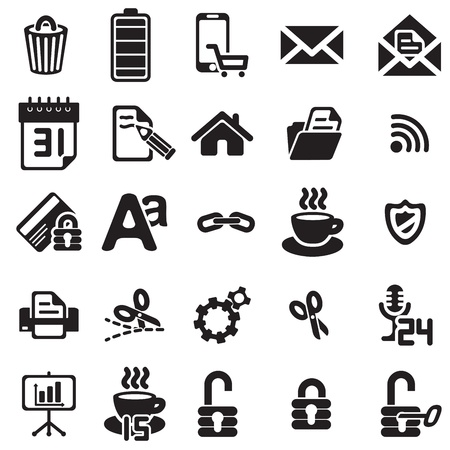 black business icons set on white Stock Vector - 18058504