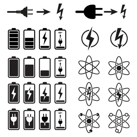 Jeu de batteries d'indicateurs de niveau de charge sur fond blanc