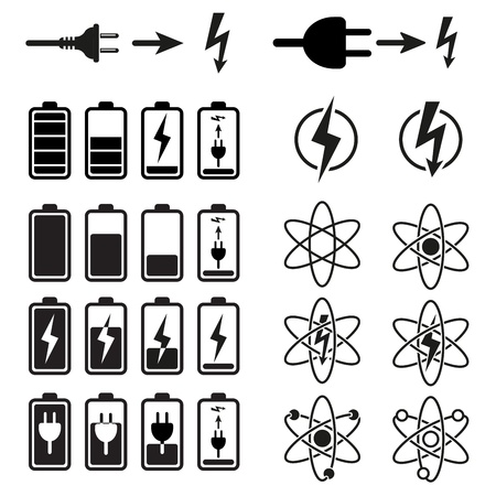voltage danger icon: Set of battery charge level indicators on white Illustration