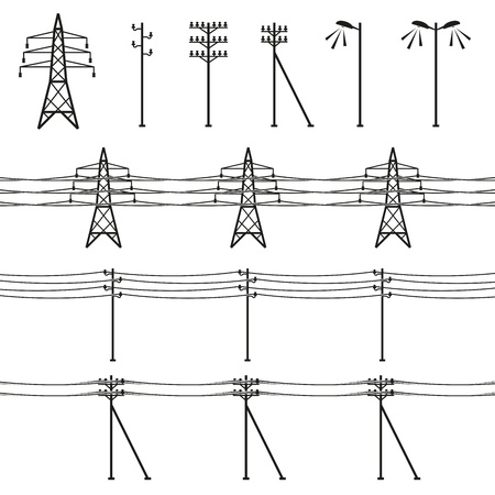 telephone pole: High voltage power lines Illustration
