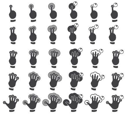 Set of multitouch gestures Vector