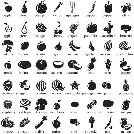 pineapples: Conjunto de frutas y hortalizas iconos