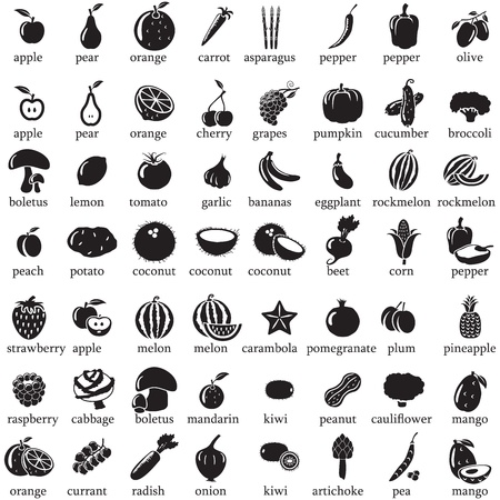 pineapples: Set of fruits and vegetables icons