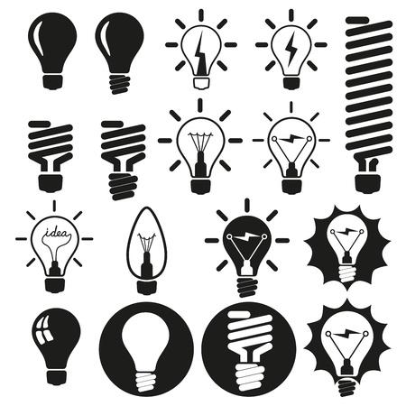 Gloeilampen Bulb icon set Vector Illustratie