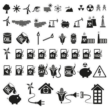 kopalni: Energia i zestaw ikon zasobów Ilustracja