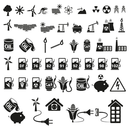 mine: Energy and resource icon set Illustration
