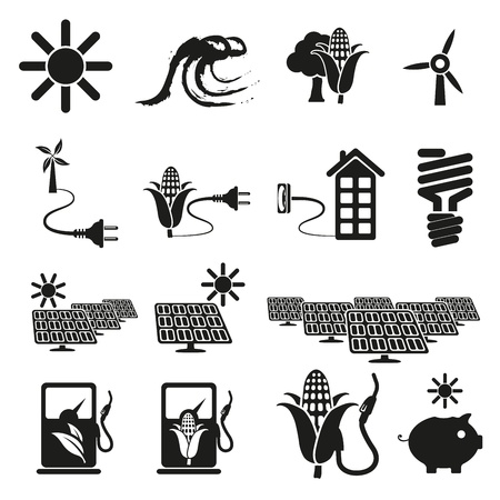 coal fire: Energy and resource icon set Illustration