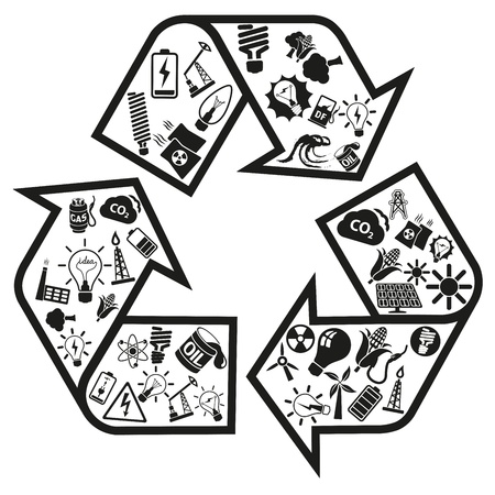Energy and resource icons in recycle arrow Stock Vector - 18399591