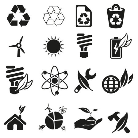 solar house: Energy and resource icon set Illustration