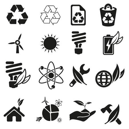 vent: L'�nergie et des ressources jeu d'ic�nes Illustration