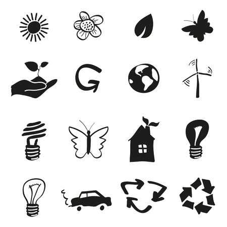 planet car: Ecology and recycle icons Illustration