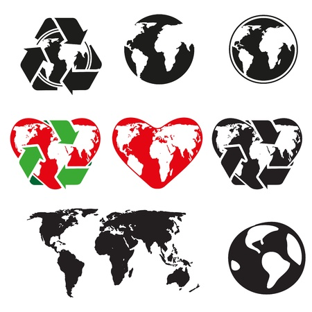 world globe map: icons globe and arrows Illustration