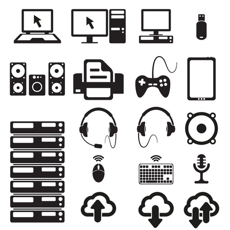 computer games: Set of computers and hardware icons