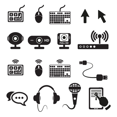 Set of computers and hardware icons Stock Vector - 18458752