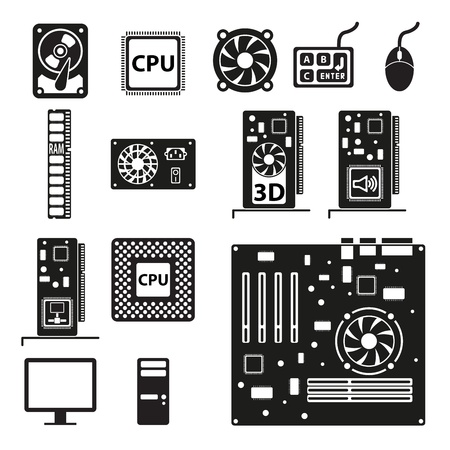 computer cpu: Set of computer hardware icons Illustration